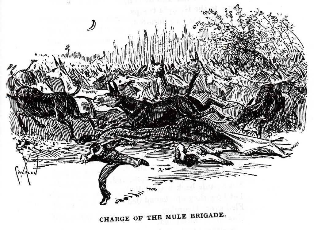 "Black and white ink drawing of the ""Charge of the Mule Brigade"" showing numerous mules running towards frightened men in army uniforms."